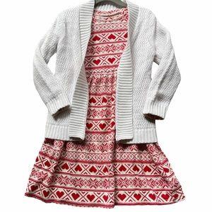 Old Navy Fair Heart Isle Dress + Cardigan Set